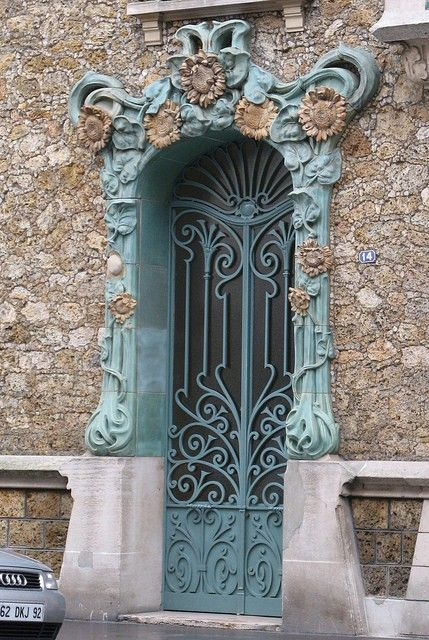 Beautiful Art Nouveau door in Paris, France.