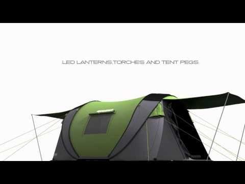 4 Man tent – Cinch Pop up Tents, solar powered