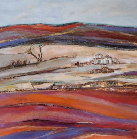Pinturas en tela de Paulina Beyer  Artista chilena  Iglesia y pueblo de Machuca  Mixta tela  100x100cm  2011  US$ 1,199  EUR$ 789