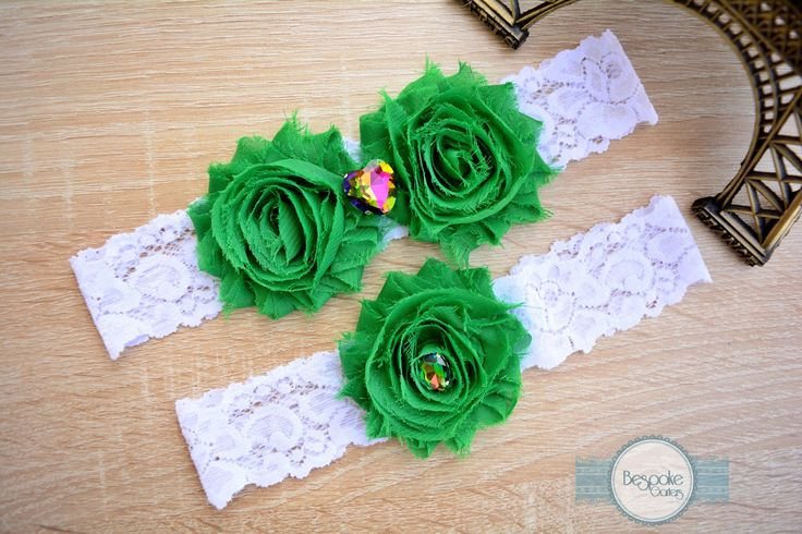 Bridal Garter & Wedding Garter Set, Handmade with Emerald Green Flower and Crystal Colorful Rhinestone - by BespokeGarters by BespokeGarters on Etsy