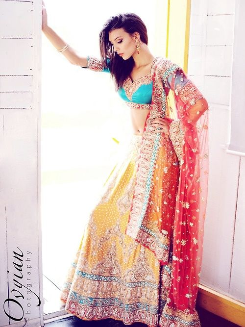 Indian Fashion #jewelry #red #yellow #blue