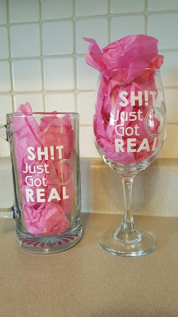 Funny Engagement Wine Glass, Shit Just Got Real, Funny Wine Glass, Funny Beer Mug, Bride Wine Glass, Engagement Gift, Wine Glass Set, Groom by ShoeBoxSnapShots on Etsy