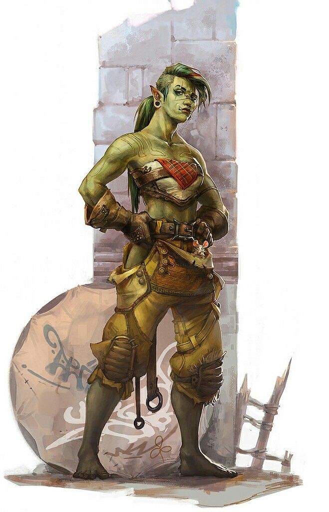 Female Half Orc, suggestive of Rogue, or empty hand Fighter