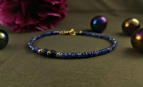 sapphire bracelet 23K gold filled