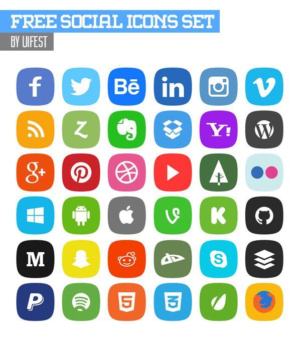 Free Social Icons Set - 36 x 4 Icons (PSD) #freeicons #freepsdicons #lineicons #vectoricons #outlineicons