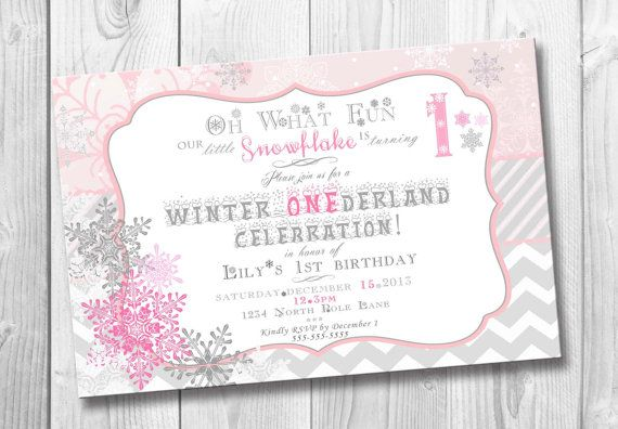 Winter ONEderland Birthday Invitation for Girl Birthday First Birthday with snowflakes winter birthday party printable