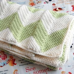 Chevron patterned crochet baby blanket.  Easy to crochet and quick to make!