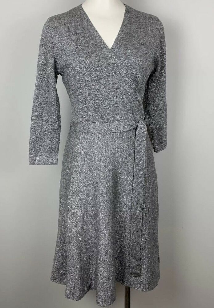 Talbots Dress Gray Silver Metallic Luxe Wrap Sweater Knit Sparkle - M -  BNWT  fashion  clothing  shoes  accessories  womensclothing  dresses (ebay  link) 5761ea224