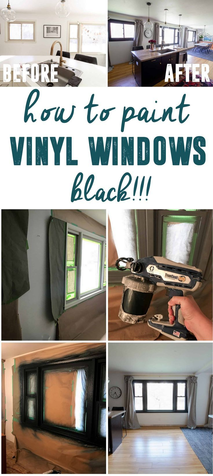 Painting Vinyl Windows Black How We Did It Vinyl Window Frame Painting Vinyl Windows Window Vinyl