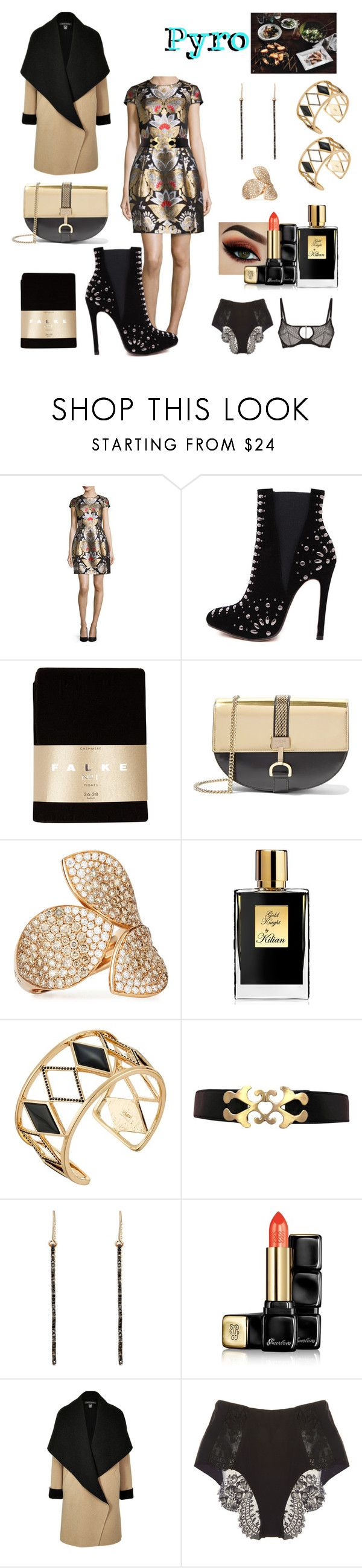 """""""p/ro"""" by difracceliglo ❤ liked on Polyvore featuring Ted Baker, WithChic, Falke, Lanvin, Pasquale Bruni, Kilian, Rebecca Minkoff, TILDA BIEHN, Guerlain and Ralph Lauren Black Label"""