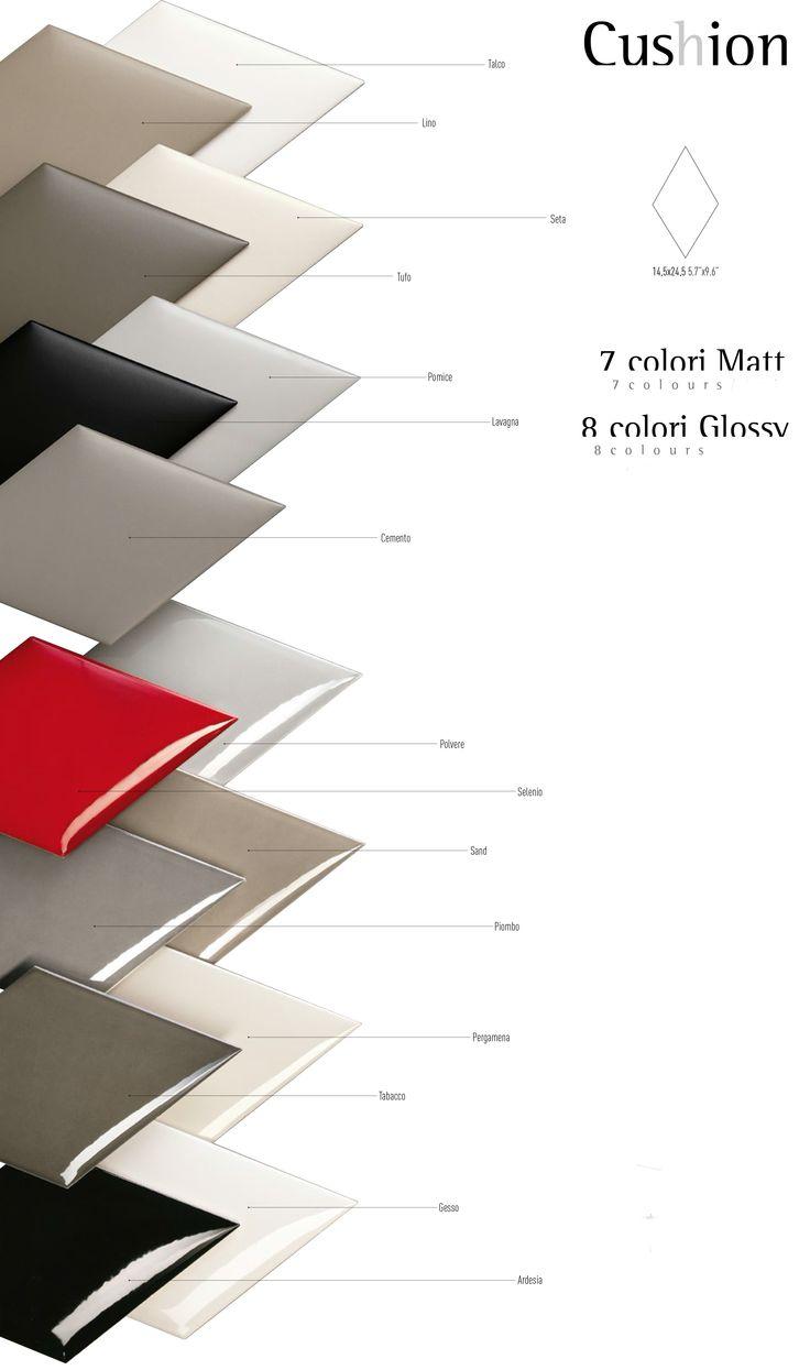 Tonalite collezione Cushion Silk rombo rhombus tiles piastrelle shape pattern design arredamento glossy azulejos carreaux rivestimento walltiles