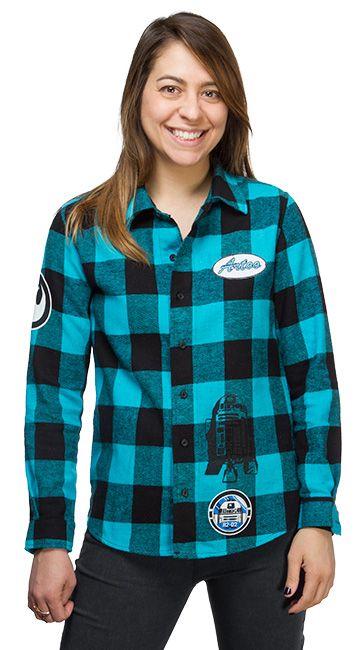 R2-D2 Plaid Ladies' Button-Down Shirt - Exclusive