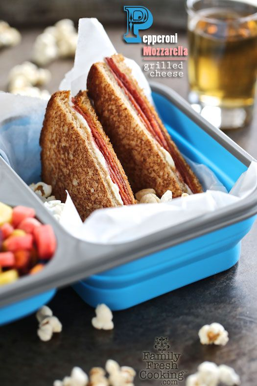 Pepperoni Mozzarella Grilled Cheese - Project LunchBox | FamilyFreshCooking.com