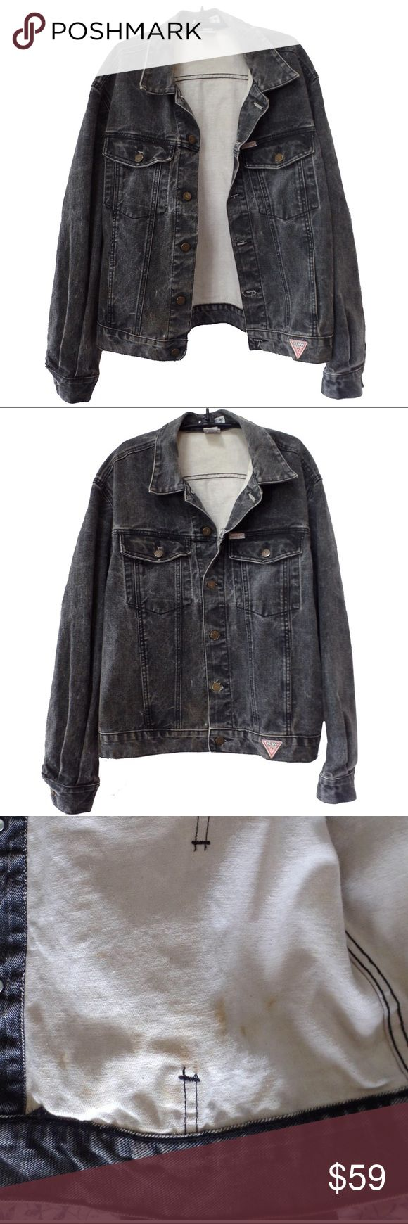 """Cool retro GUESS Marciano quality jean jacket Great quality fabric - washed black. This is the """"designer division"""" by GUESS founder Georges Marciano. Made in US, very cool, some stains on the inside. 46"""" pit-to-pit around, 26"""" long. Guess by Marciano Jackets & Coats Lightweight & Shirt Jackets"""