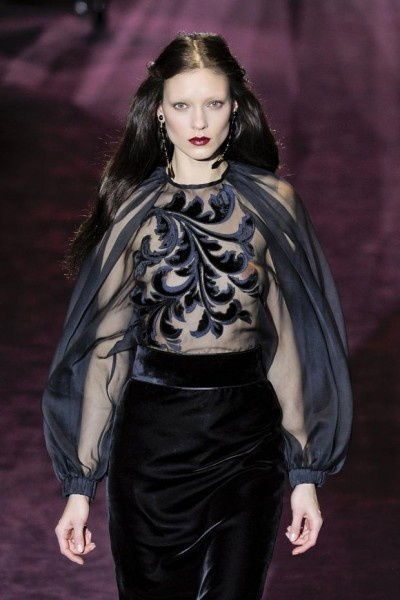 This dress by Gucci is the very definition of tactile gothic beauty. I love the sheer blouse which works beautifully with the sumptuous velvet skirt.