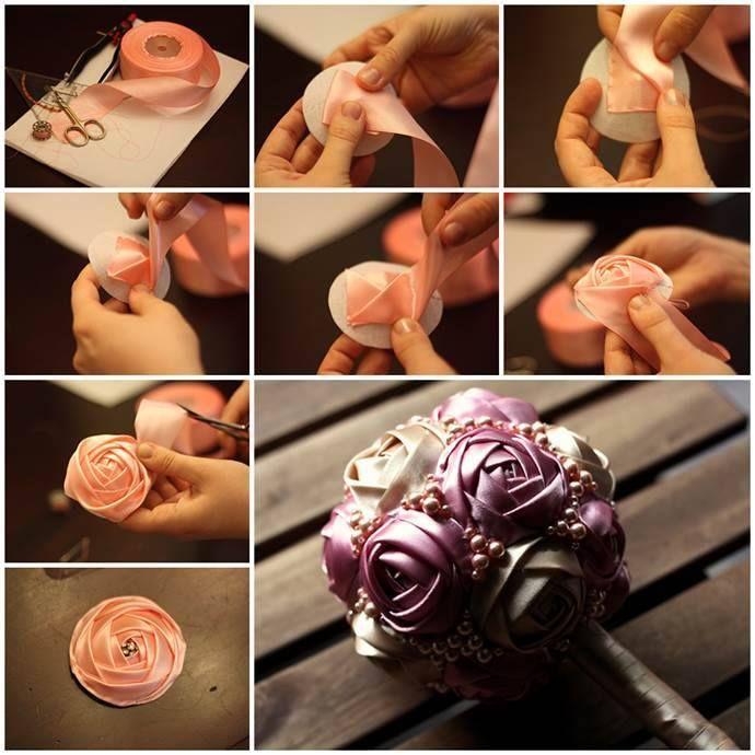 Beautiful DIY ribbon rose bridal bouquet !
