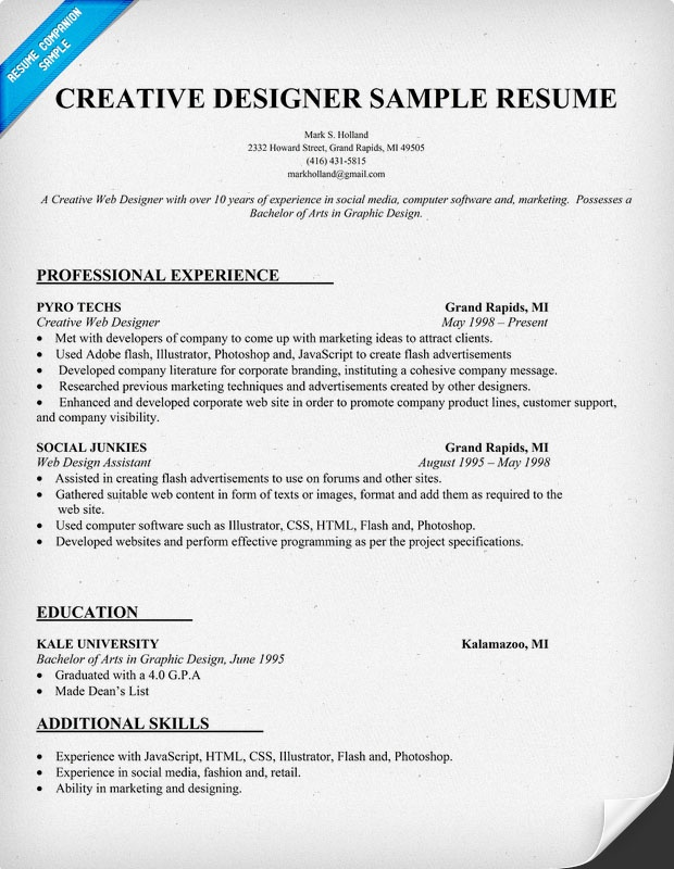 Creative Designer Resume Sample (Resumecompanion.Com) | Goals And