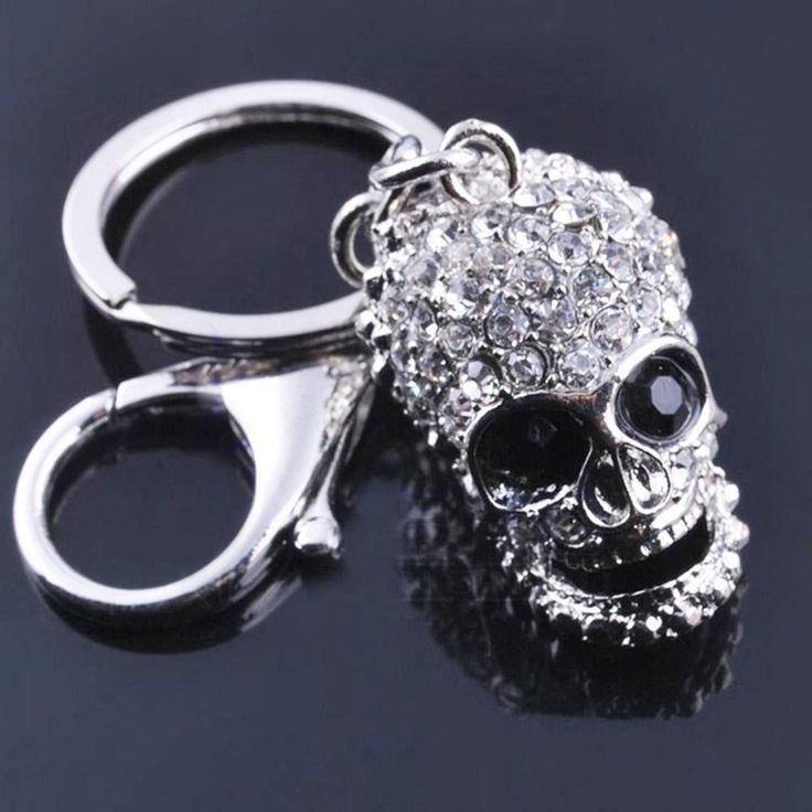 "Rhodium Plated ""Crystal Skull"" Keychain"