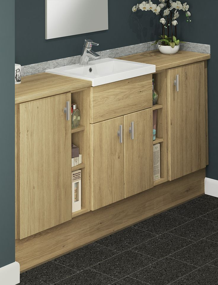 A warm Natural Oak can create a cosy but modern looking bathroom. Woodgrains add a comforting, earthy feel to the space. Our crisp white sit-on Breeze basins beautifully contrast the warm woodgrain tones of Natural Oak. This timber effect finish looks even brighter when contrasted with deep, colourful walls.