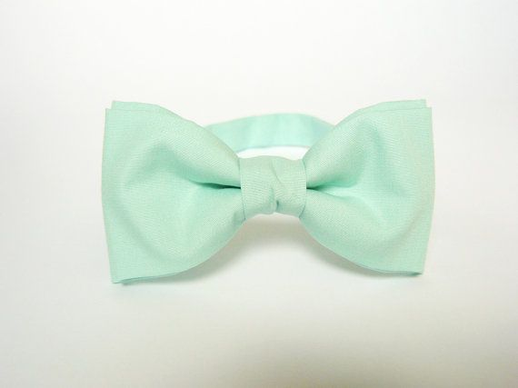 Mens bow tie by Bartek Design - groom wedding classic retro necktie chic handmade gift for him pre tied - pastel green mint