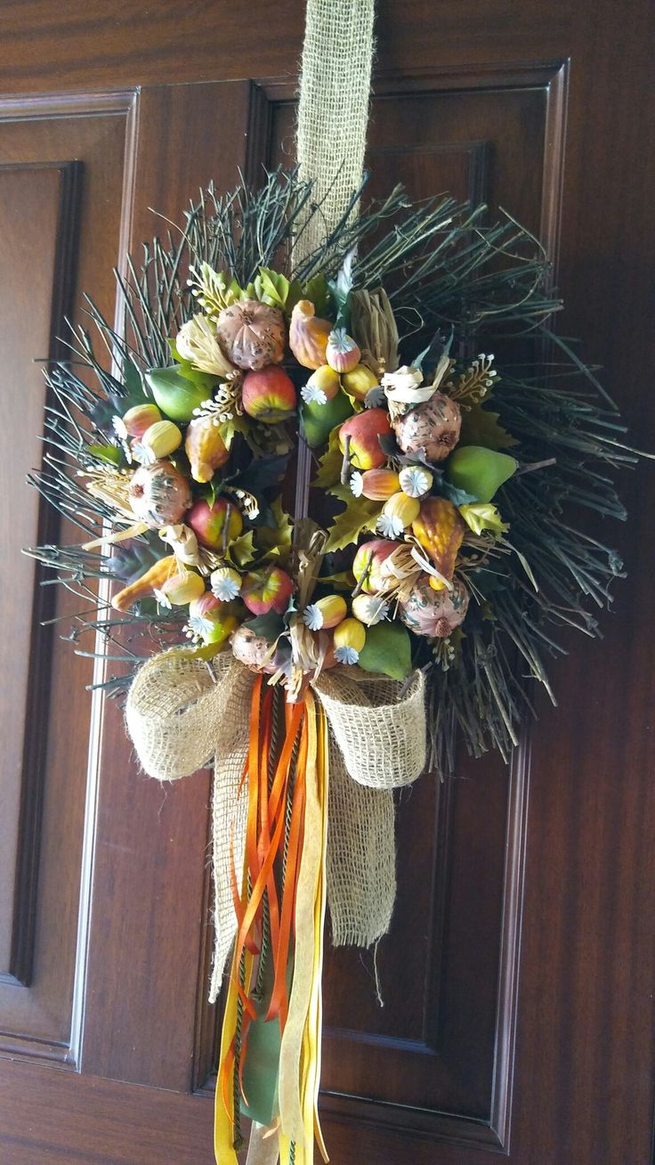 A fall wreath I made for the front door.