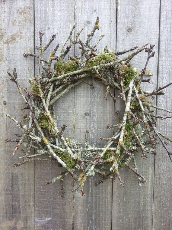 Natural twig and moss wreath by twigs4u on Etsy..... would also be very pretty with a craft made bird nest on the bottom inside of the wreath...