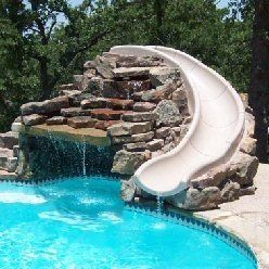 Swimming Pool Slide Ideas waterfall and slide for pool Pool Slide Sounds Nice For A Day Like Today