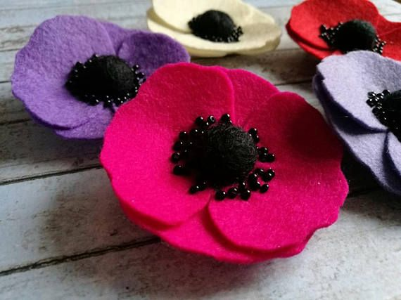 Purple Anemone brooch, Red poppy brooch, purple poppy brooch, lilac flower brooch, Remembrance Day poppy wool felt pin Hey, I found this really awesome Etsy listing at https://www.etsy.com/listing/570917399/purple-anemone-brooch-red-poppy-brooch
