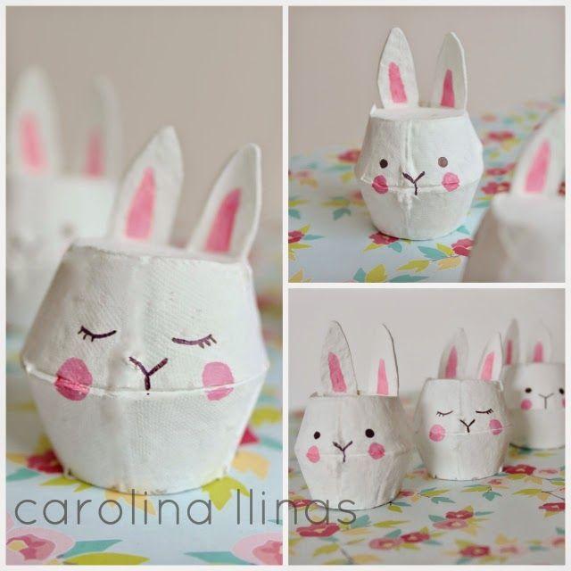 #Artividades : Conejos de Pascua hechos con cajas de huevos