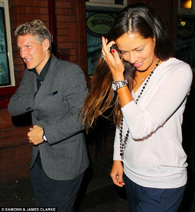 Bastian Schweinsteiger went out for a meal in Manchester on Monday night with partner Ana ...