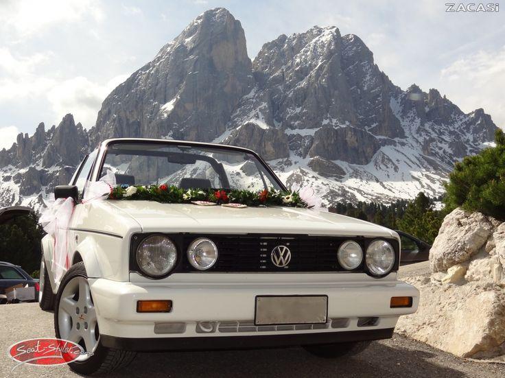 VW Golf 1 Cabrio Hochzeitsmodell mit Sitzbezügen von Seat-Styler in dem Design #Paris   #vw #golf1 #cabrio #zacasi #seatcover #paris #hochzeit