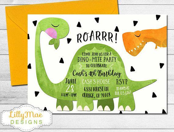 best 25+ dinosaur party invitations ideas on pinterest | dinosaur, Birthday invitations