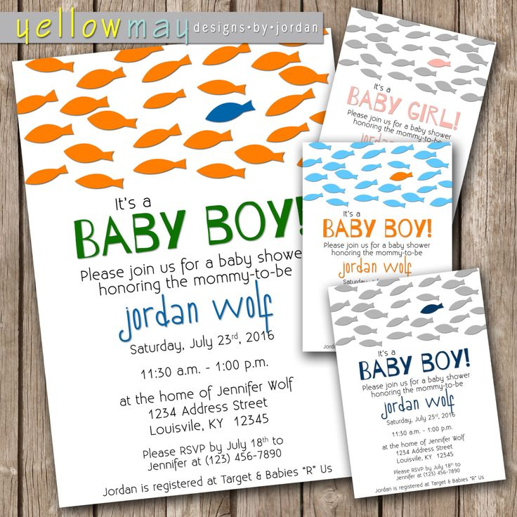 Fish Baby Shower Invitation   5x7   Printable PDF Or JPG By  YellowMayDesigns On Etsy Https