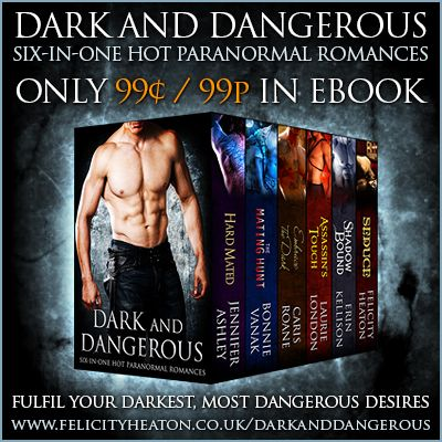DARK AND DANGEROUS: Six-in-One Hot Paranormal Romances Boxed Set is out now and for a limited time it's only 99cents / 99p! Six hot paranormal romance stories by six best-selling authors, including Felicity Heaton, Jennifer Ashley/Allyson James, Bonnie Vanak, Caris Roane, Laurie London and Erin Kellison!  All the links and a GIVEAWAY for $50 & $25 Gift Cards at: http://www.felicityheaton.co.uk/darkanddangerous/