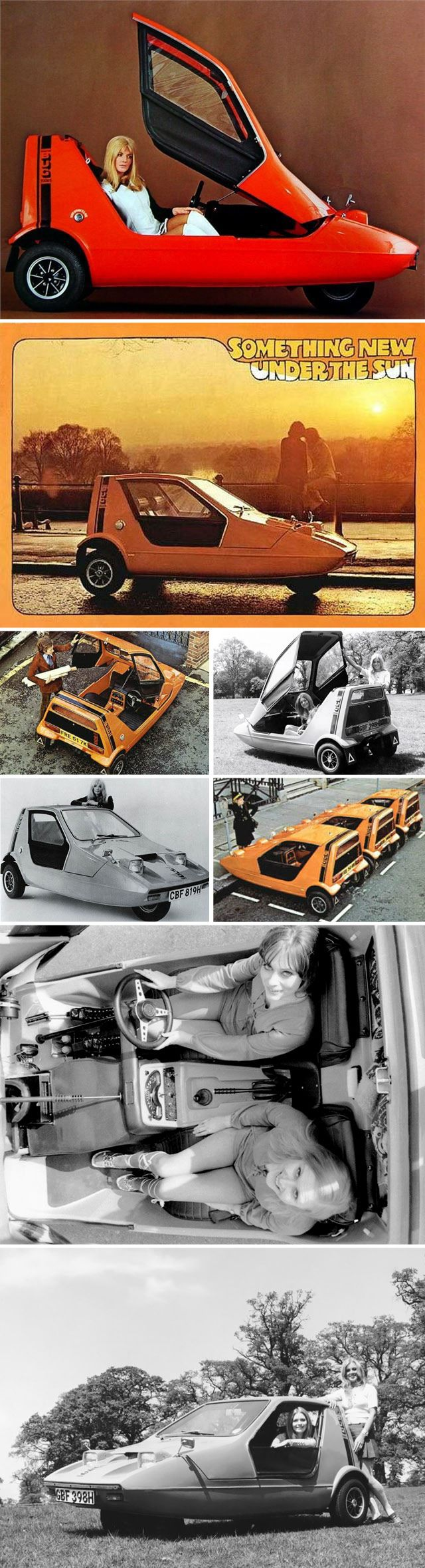 The Bond Bug is a small British two-seat, three-wheeled automobile which was built from 1970 to 1974, initially by Bond Cars Ltd and subsequently by the Reliant Motor Company. It is a wedge-shaped microcar, with a lift-up canopy and side screens instead of conventional doors.