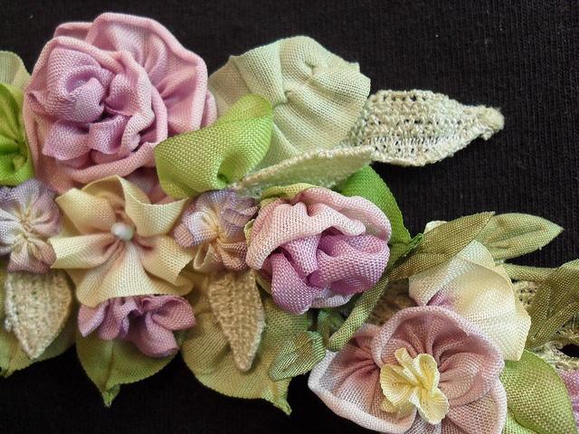 I ❤ ribbonwork . . . Ribbon Flowers in lavenders by lambsandivydesigns.com