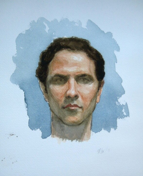 Self portrait, watercolor, 20cm x 30cm, by Matthew James Collins