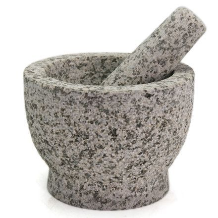 Features:  -Includes mortar and pestle.  -Material: Granite.  -Color: Gray.  -Non-porous.  -Easy to clean.  -Heavy, well balanced.  Product Type: -Mortar And Pestle Set.  Material: -Marble/Stoneware.