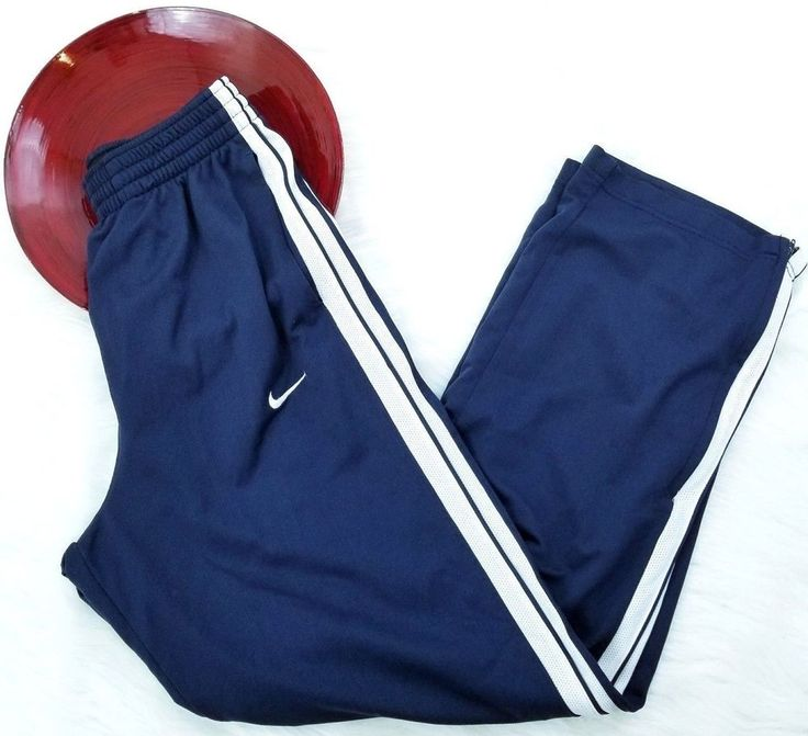 Nike Basketball Mens Athletic Pants Small Blue White Stripe Lined Gym Track o147 #Nike #Pants