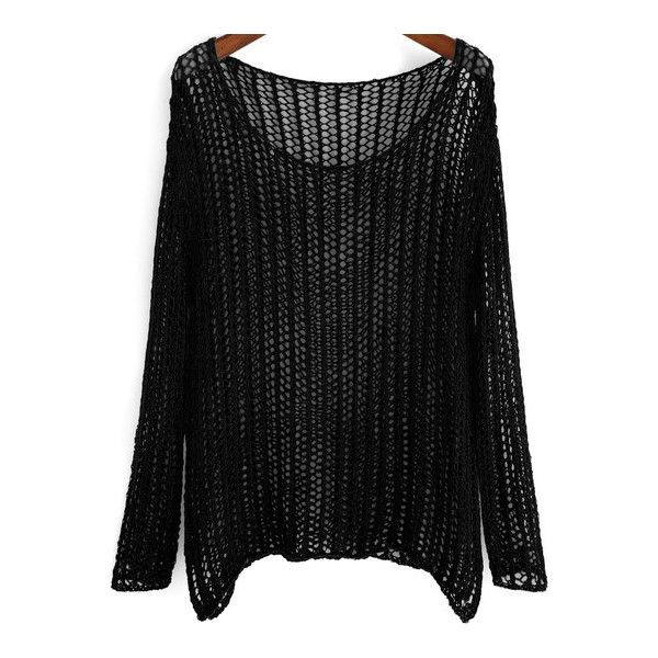 SheIn(sheinside) Black Long Sleeve Hollow Loose Knit Sweater (2035 RSD) ❤ liked on Polyvore featuring tops, sweaters, shirts, black, black sweater, long sleeve sweaters, knit sweater, long sleeve shirts and pullover sweater
