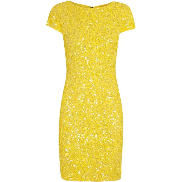 Alice + Olivia Taryn bright yellow sequinned mesh dress (36.320 RUB) ❤ liked on Polyvore featuring dresses, cocktail dresses, yellow, mesh cocktail dress, sequin mesh dress, mesh dress, fitted cocktail dresses and sequin dresses