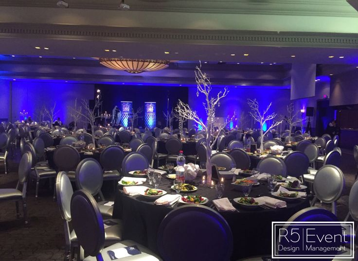 Gala Event Decor by R5 Event Design- Tall manzanita Trees with Variety of hanging Crystals and Candles