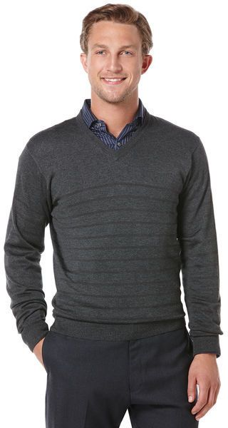 $14, Charcoal Horizontal Striped V-neck Sweater: Perry Ellis Tonal Stripe V Neck Sweater. Sold by Perry Ellis. Click for more info: http://lookastic.com/men/shop_items/95956/redirect