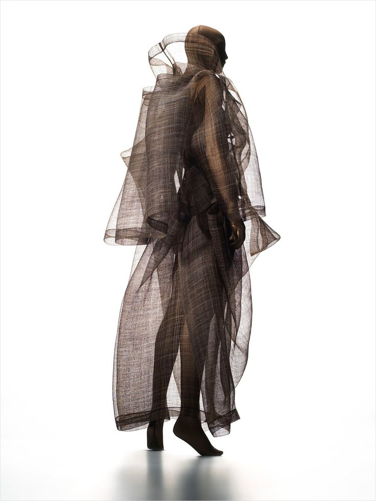 Sculptural Fashion with sheer layers; wearable art; conceptual fashion design // Issey Miyake