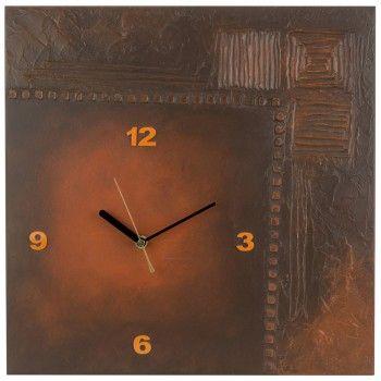 """K Edition K1013 Limitierte Designer Wanduhr Quarz Handarbeit Unikat apricot  Quarz-Wanduhr """"Wood"""", mit Modellierpaste dreidimensional gestaltete Holzplatte, aufgesetzte arabische Zahlen, Zeiger schwarz, Sekundenzeiger rot, geräuscharmes Quarz-Werk, jede Uhr ein Unikat (handgearbeitet)"""