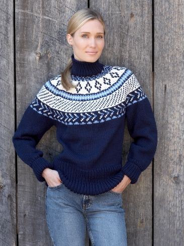 Fair Isle Yoke Pullover | Yarn | Free Knitting Patterns | Crochet Patterns | Yarnspirations