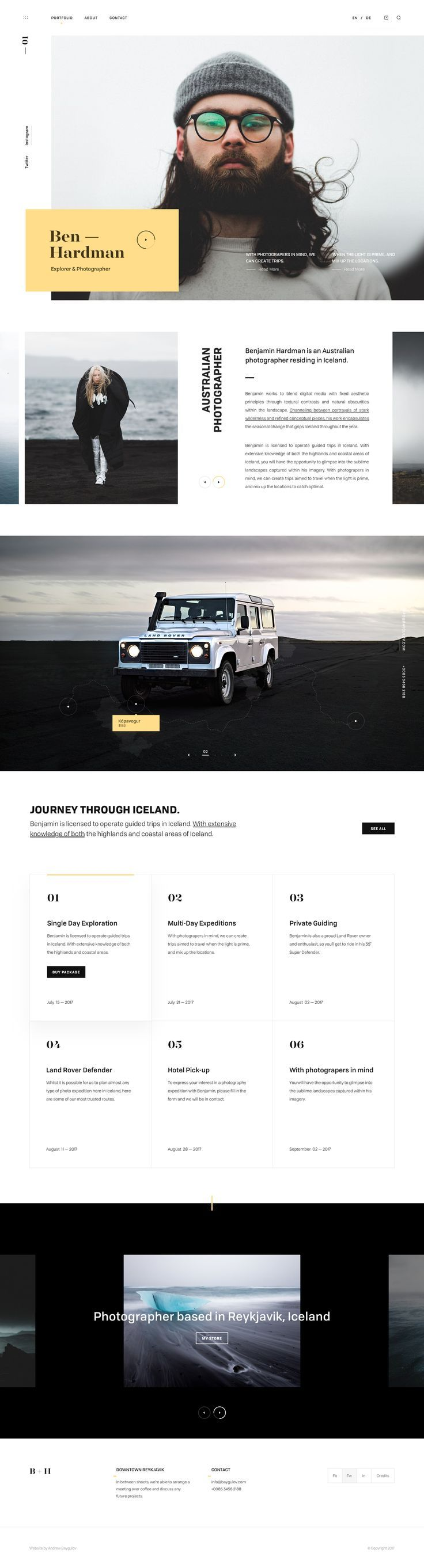 Homepage clean white grid web design