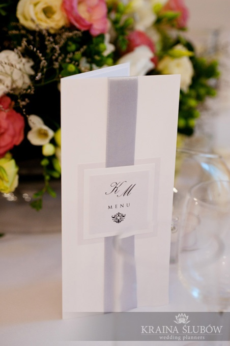 Menu card / wedding stationery / pink and grey wedding