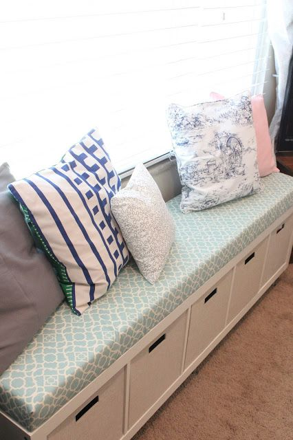 How to make mudroom bench from Ikea expedit, capita legs piece of mdf, foam, batting, and fabric.