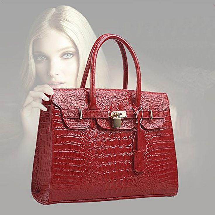 Popobago®New Office Lady Genuine Leather Luxury Simple Style Crocodile Hobo Tote Top Handle Crossbody Shoulder Bag Satchel Purse Messenger Handbag for
